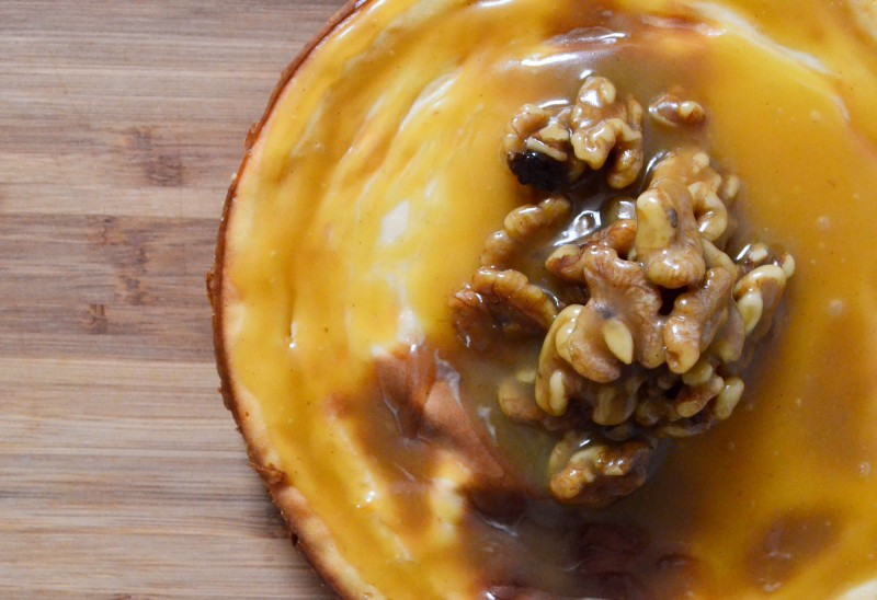 Baked Tofu Maple Cheesecake with Walnuts